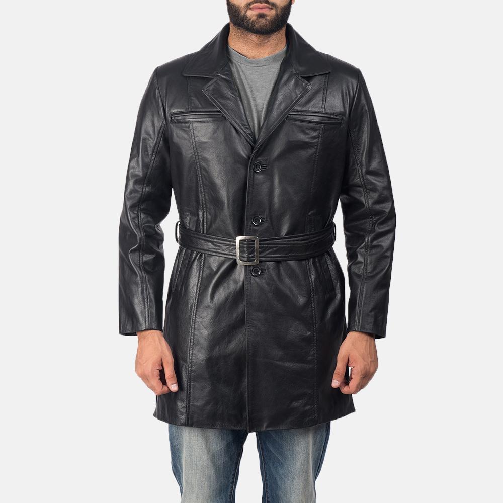 Men's Jordan Black Leather Coat 1