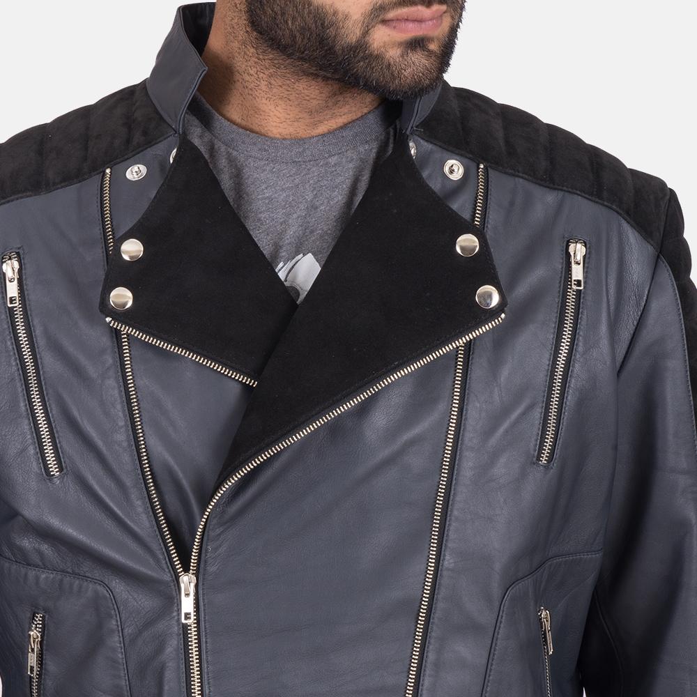 Men's Lucas Hybrid Suede Leather Biker Jacket 4
