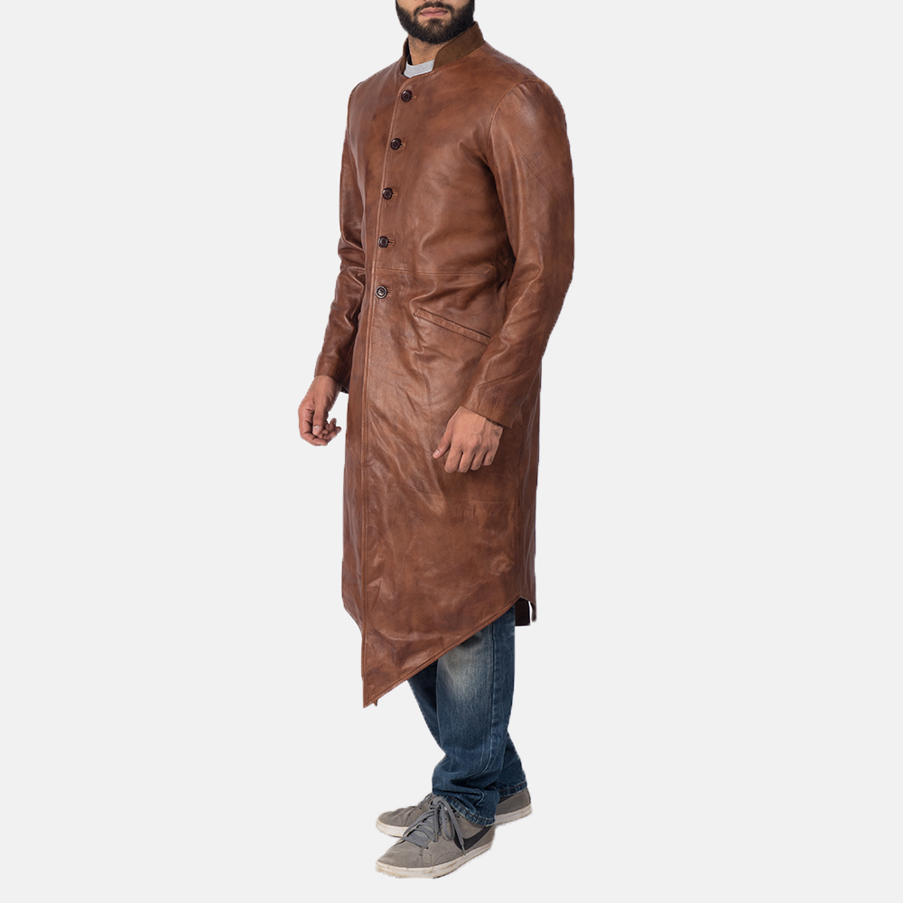 Men's Phixius Brown Leather Coat 3