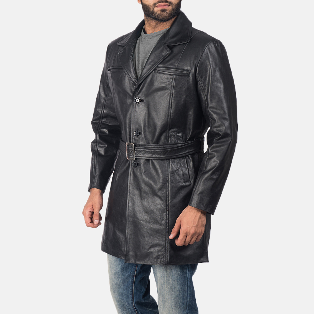 Men's Jordan Black Leather Coat 3