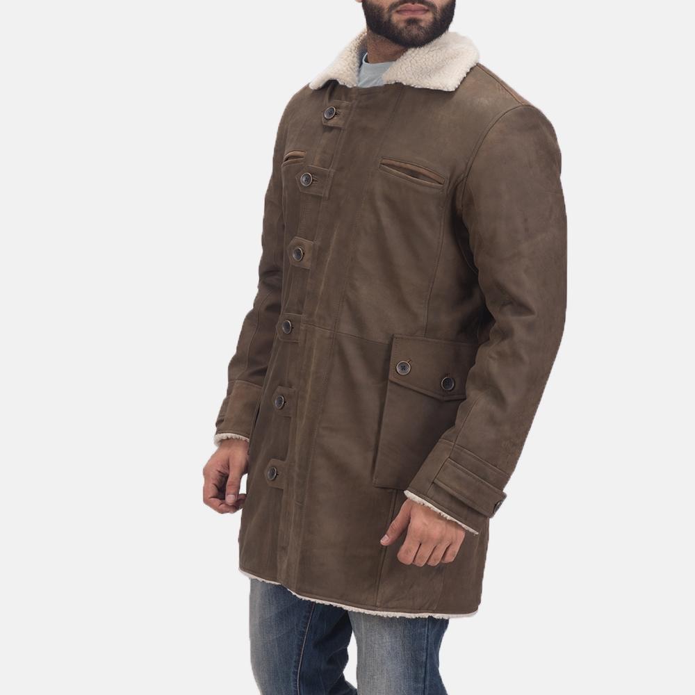 Mens Storm Nite Brown Shearling Coat 3