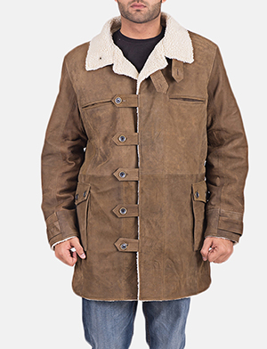 Mens Wyatt Brown Fur Leather Coat