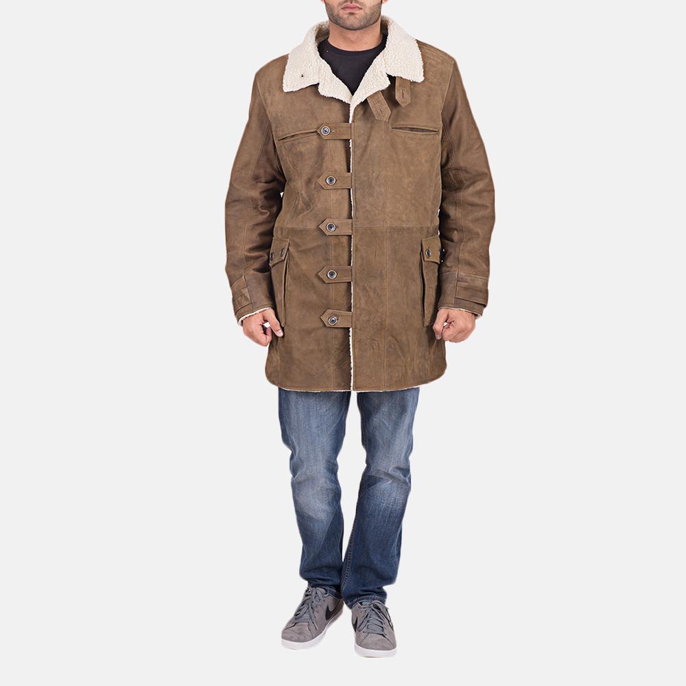 Mens Wyatt Brown Fur Leather Coat 1
