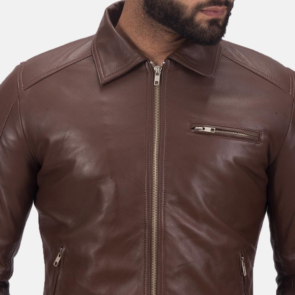 Men's Tim Brown Leather Biker Jacket 6
