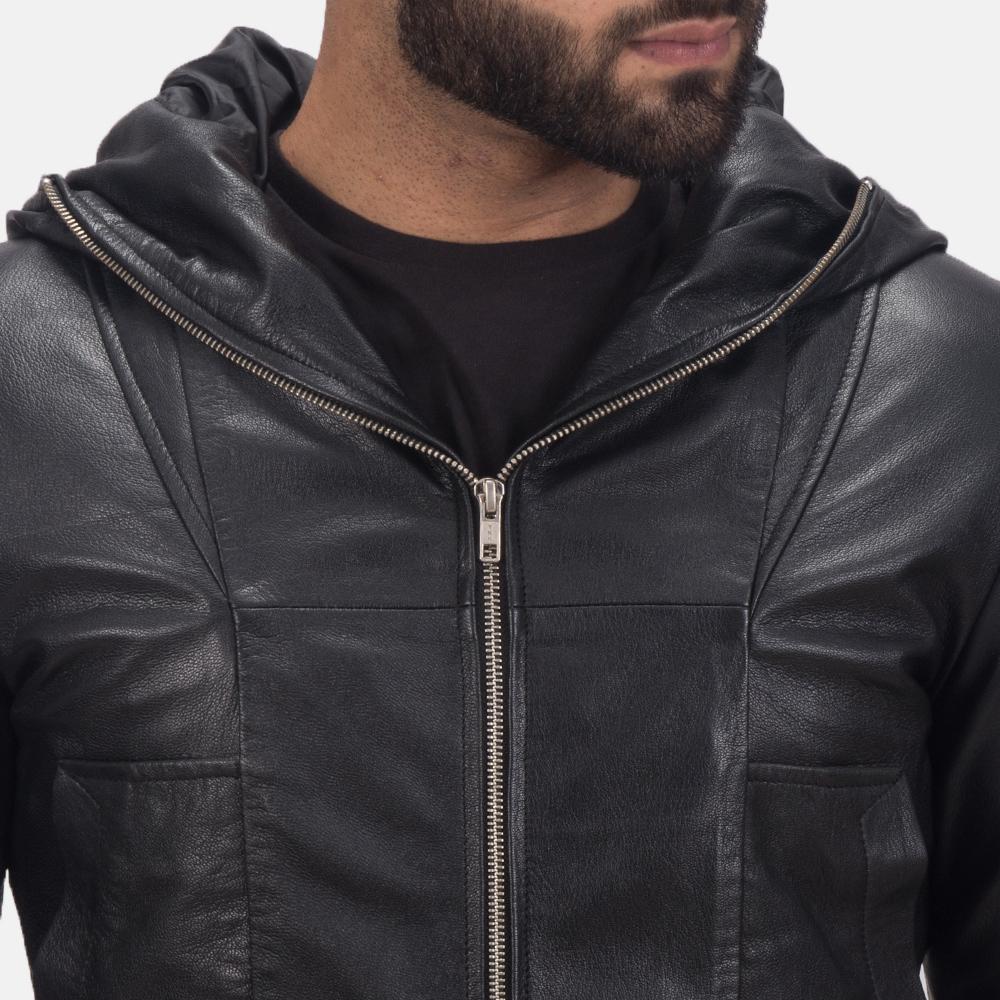 Men's Spratt Black Hooded Leather Jacket 6