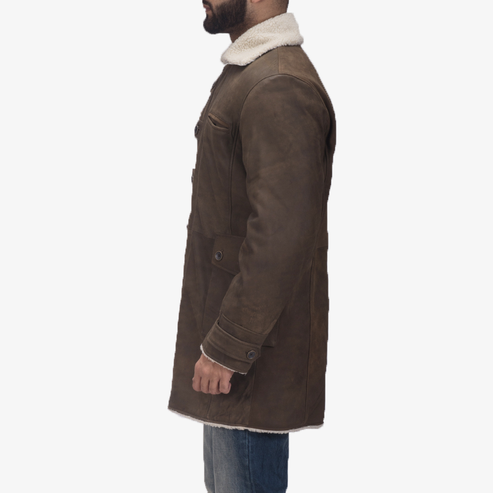 Mens Storm Nite Brown Shearling Coat 5