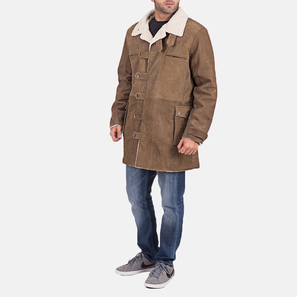 Mens Wyatt Brown Fur Leather Coat 3