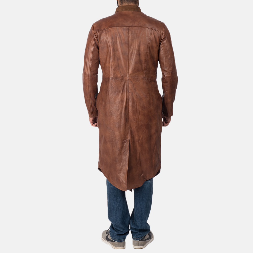 Men's Phixius Brown Leather Coat 5