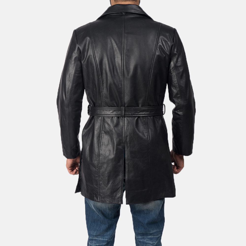 Men's Jordan Black Leather Coat 5