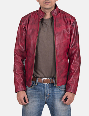 Mens Alex Distressed Burgundy Leather Jacket