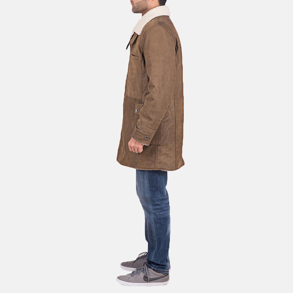 Mens Wyatt Brown Fur Leather Coat 4