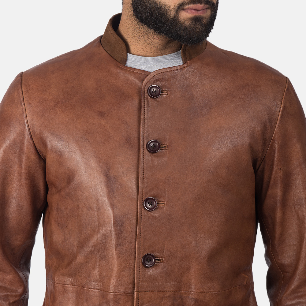 Men's Phixius Brown Leather Coat 6