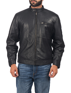 Mens Solemn Black Leather Biker Jacket