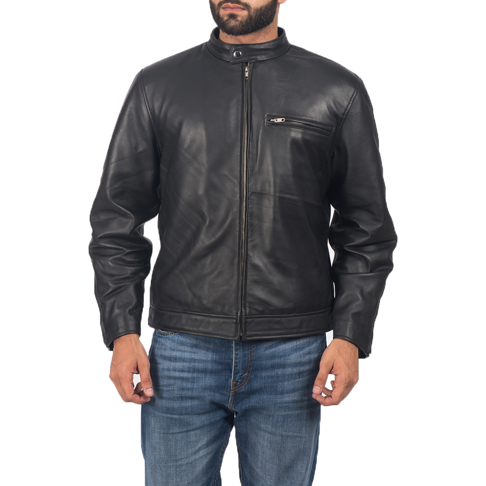 Mens Solemn Black Leather Biker Jacket 1