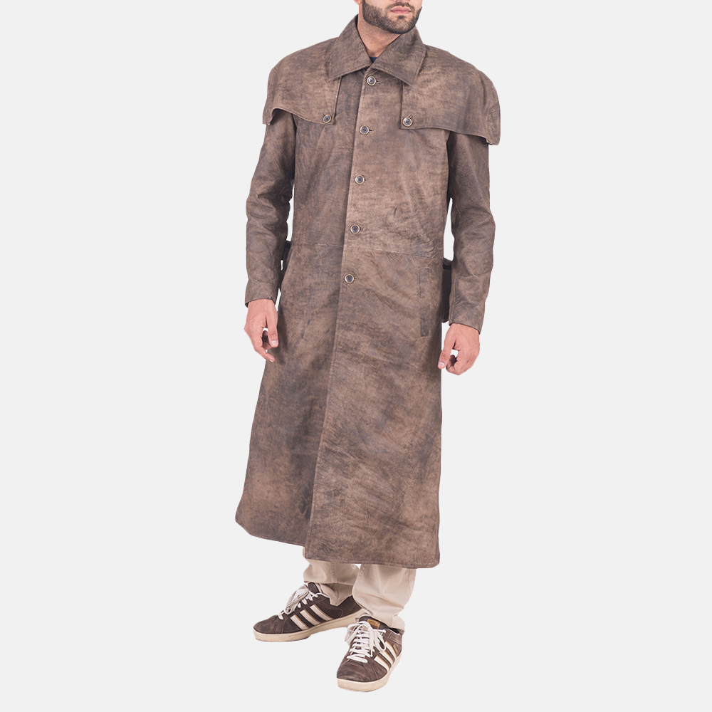 Men's Classic Button Front Army Brown Duster 2