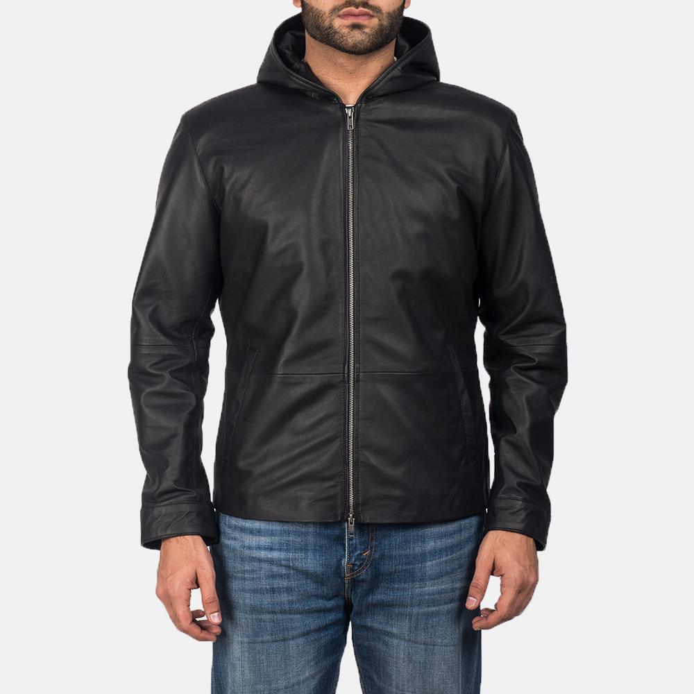 Men's Andy Matte Black Hooded Leather Jacket 1