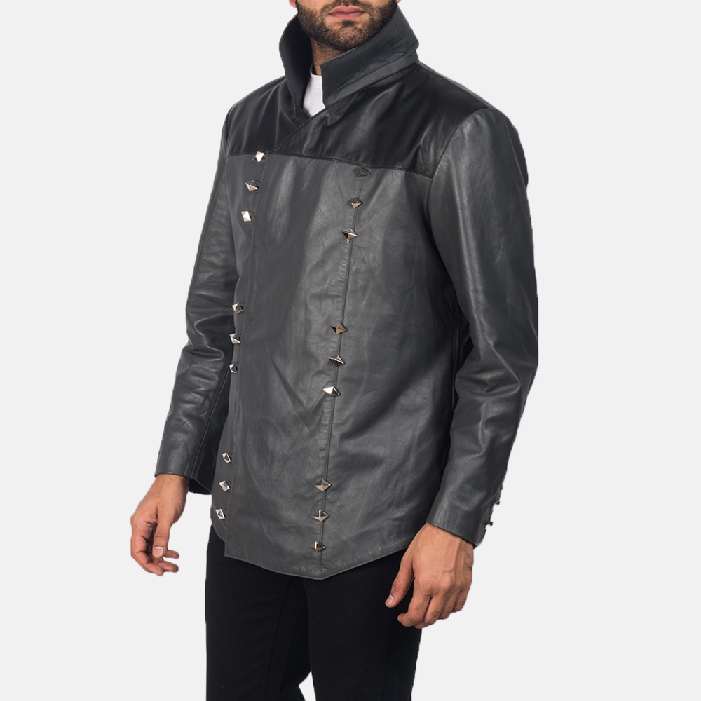 Men's  Adam Grey Leather Jacket 2