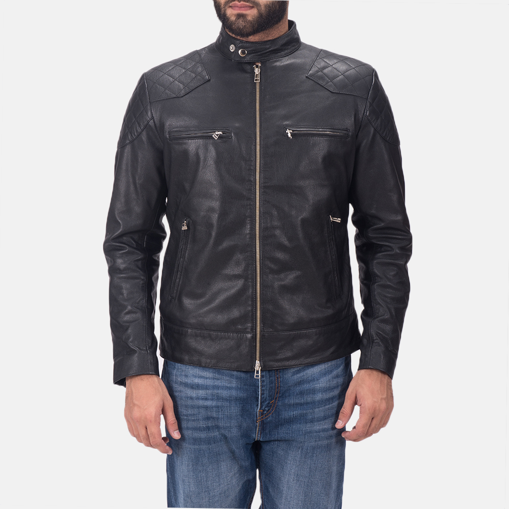 Mens Gatsby Black Leather Biker Jacket 1