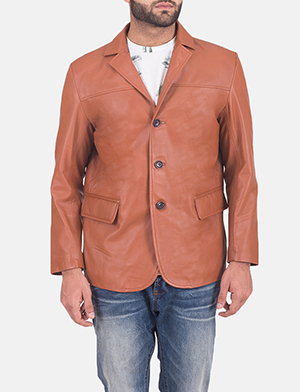 Mens James Tan Brown Leather Blazer