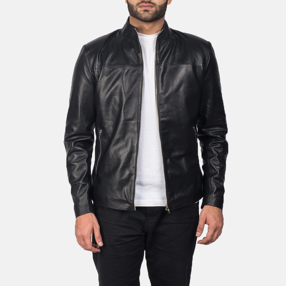 Mens Adornica Black Leather Jacket 1