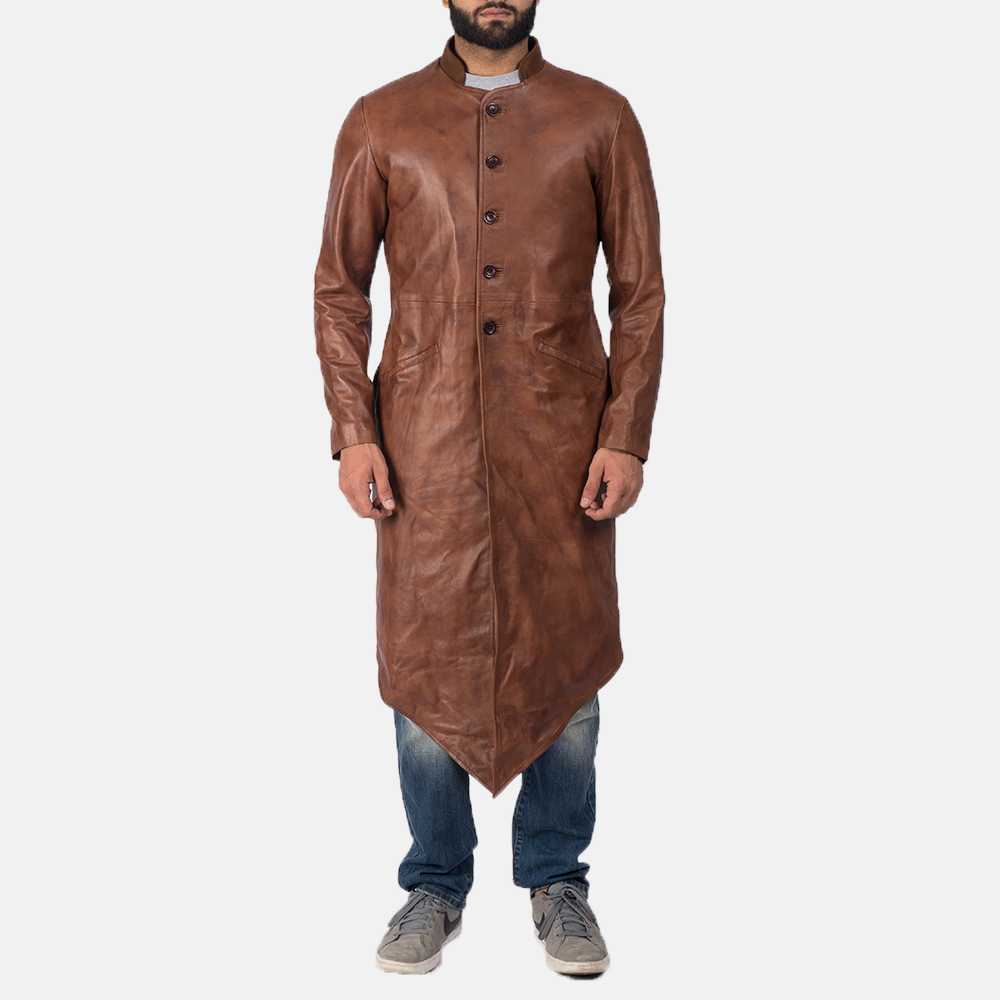Men's Phixius Brown Leather Coat 2