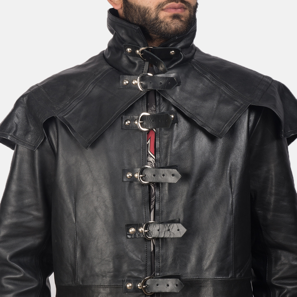 Mens Faisom Black Leather Coat 4