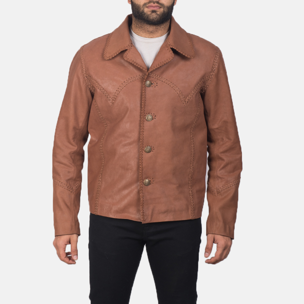 Men's Hayley Vintage Brown Leather Jacket 1