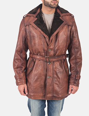 Mens Hunter Brown Fur Leather Coat