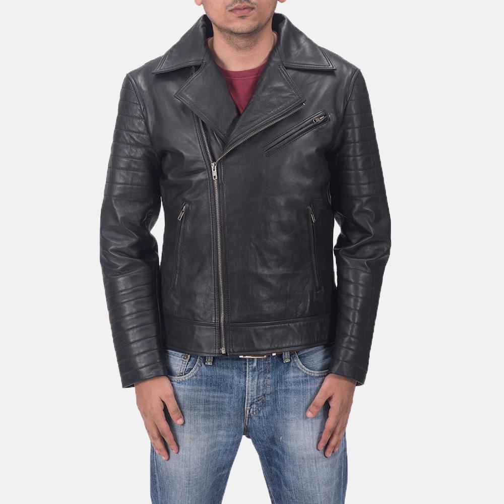 Men's Luther Black Leather Biker Jacket 1