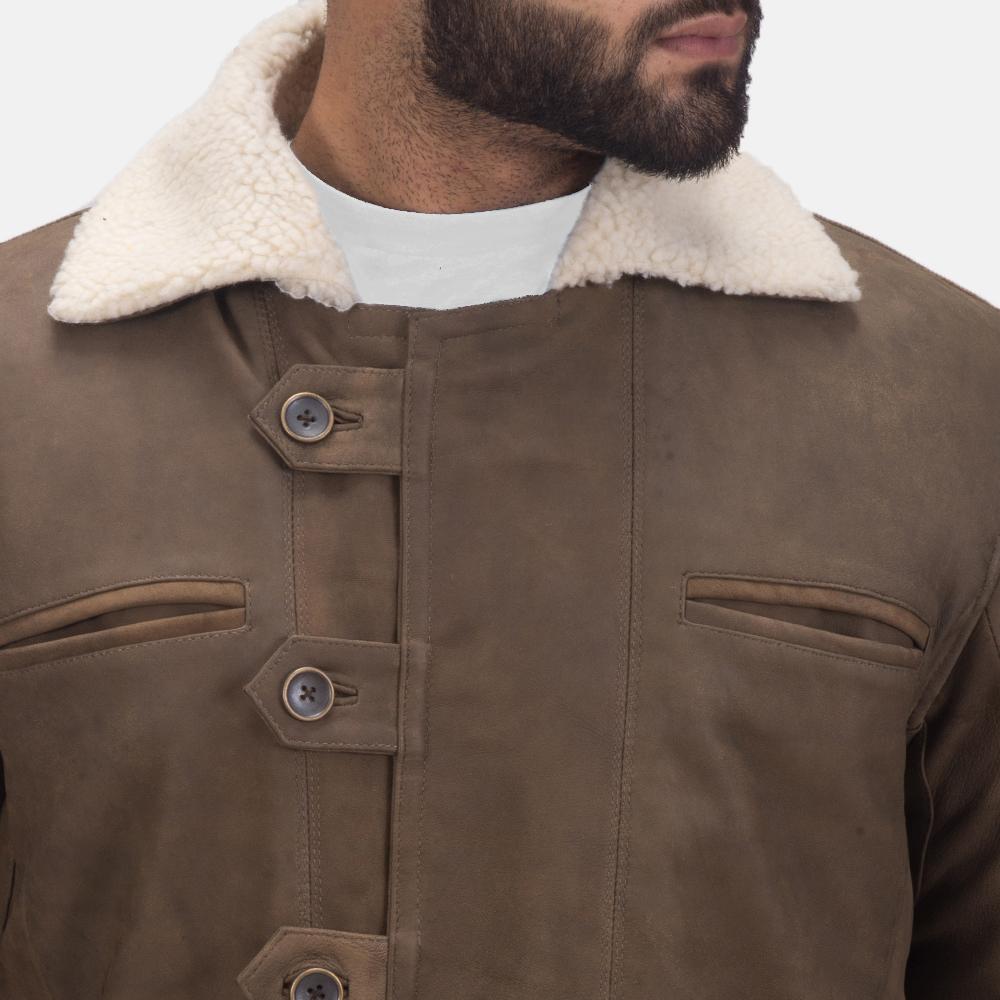 Mens Storm Nite Brown Shearling Coat 6