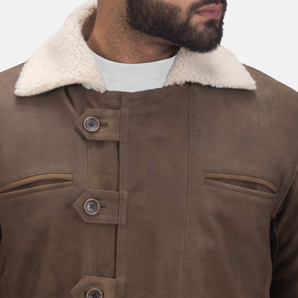Mens Storm Nite Brown Shearling Coat 5
