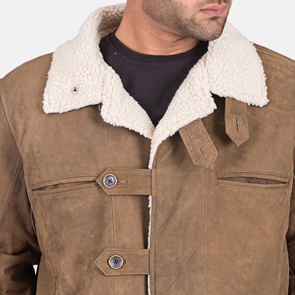Mens Wyatt Brown Fur Leather Coat 5