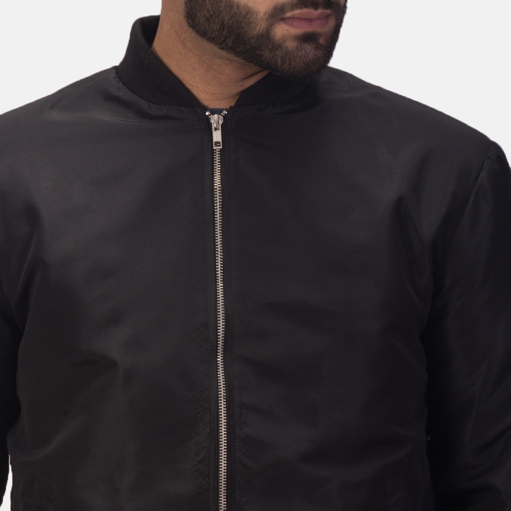 Men's Zack Black Bomber Jacket 6