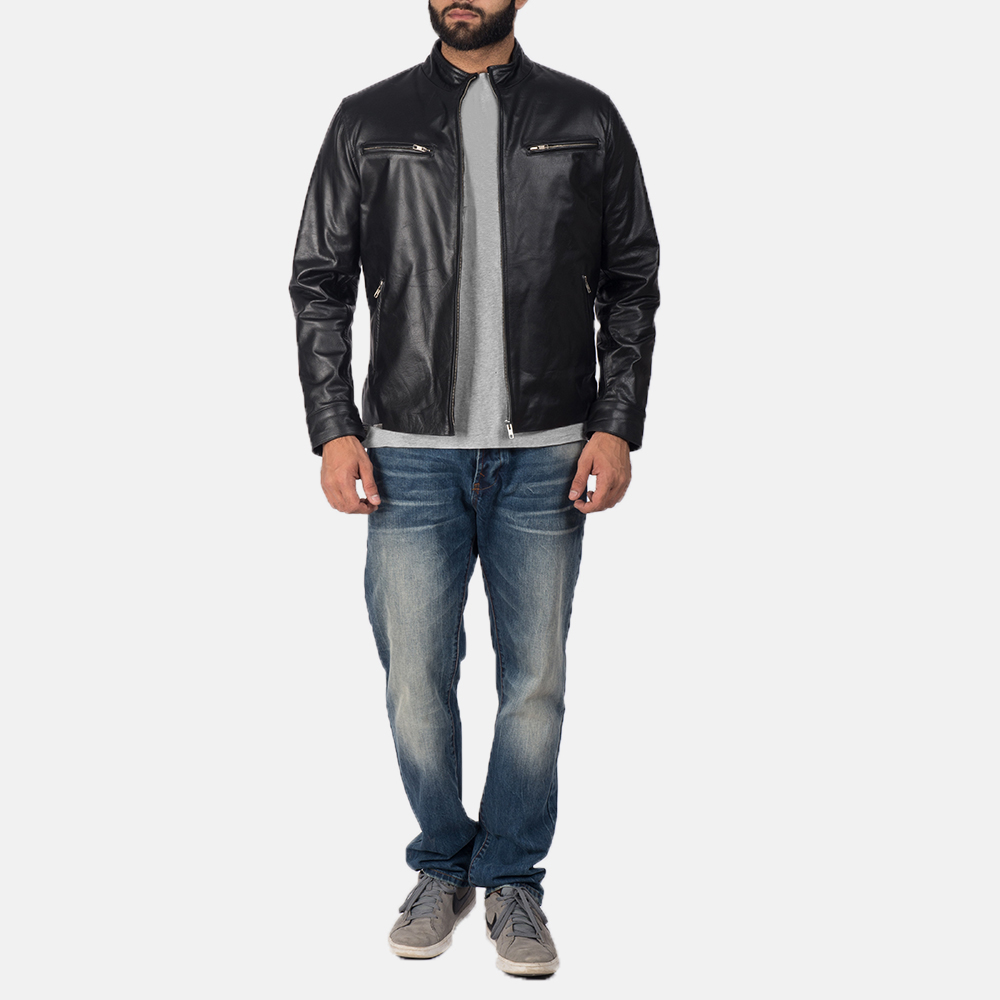 Mens Austere Black Leather Biker Jacket 2