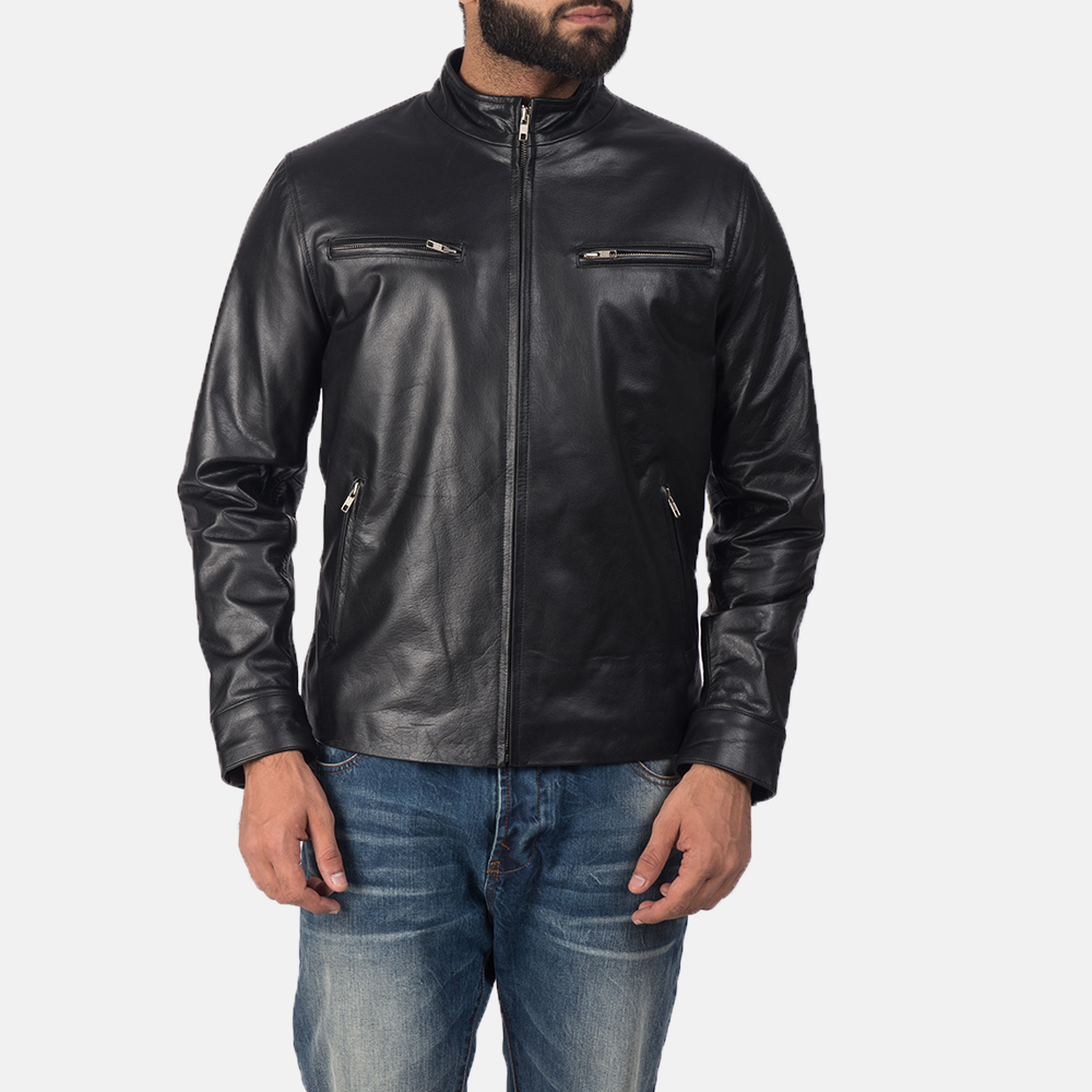 Mens Austere Black Leather Biker Jacket 1
