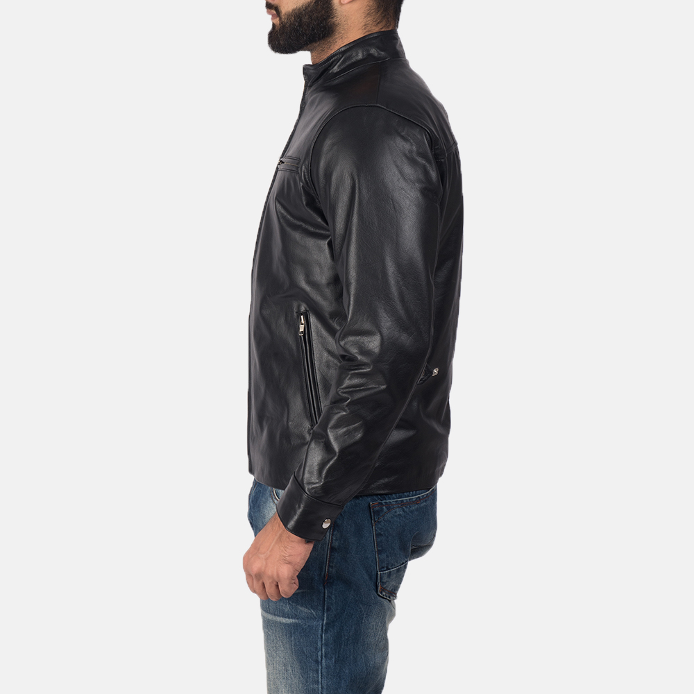 Mens Austere Black Leather Biker Jacket 4