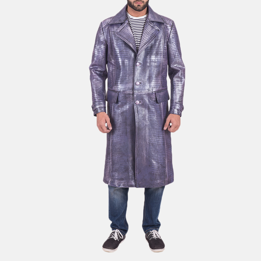 Mens Crocodile Purple Leather Coat 1
