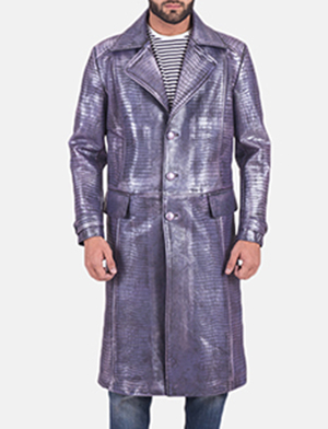 Mens Crocodile Purple Leather Coat
