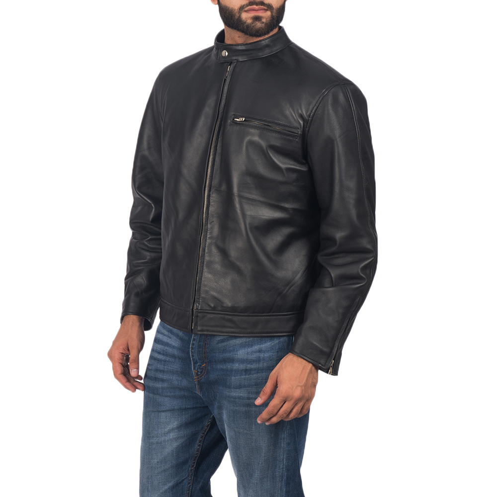 Mens Solemn Black Leather Biker Jacket 3