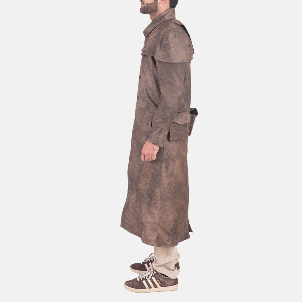 Men's Classic Button Front Army Brown Duster 3