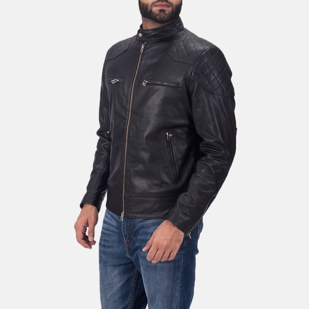 Mens Gatsby Black Leather Biker Jacket 3