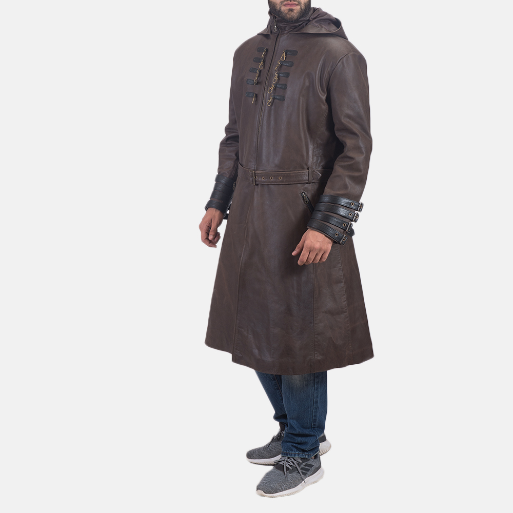 Men's Architect Brown Leather Trench Coat 3