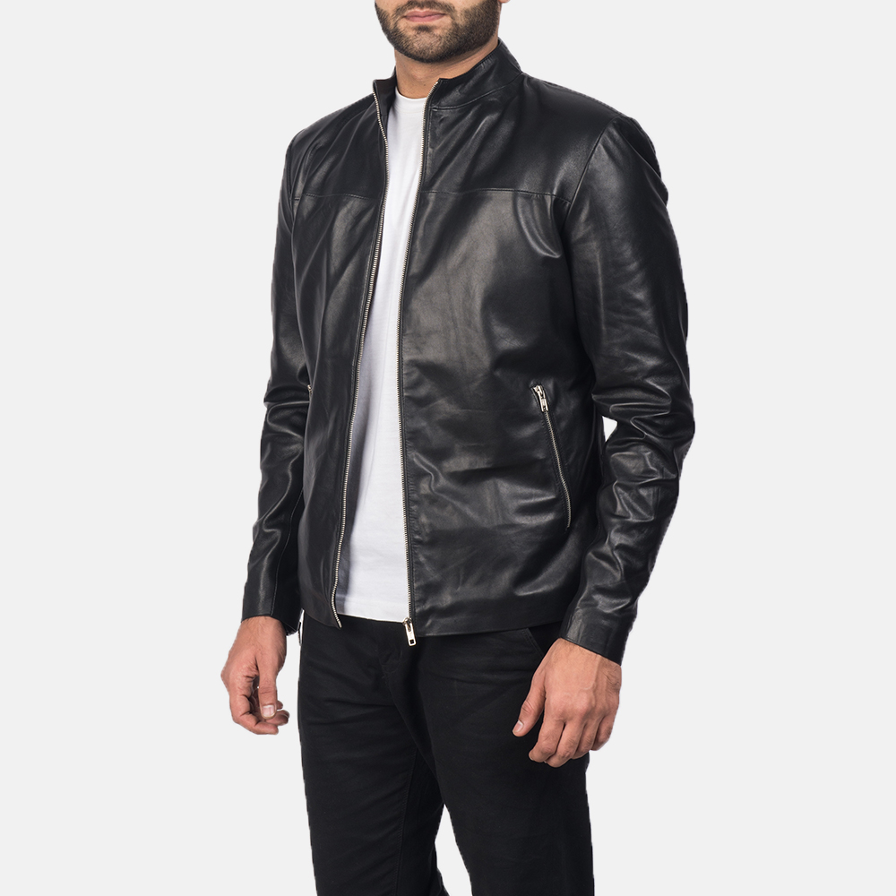 Mens Adornica Black Leather Jacket 2
