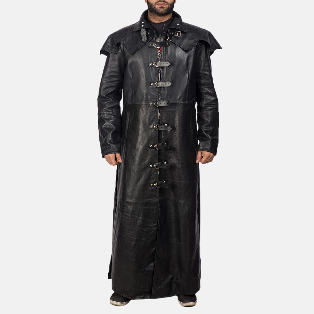 Mens Faisom Black Leather Coat 1
