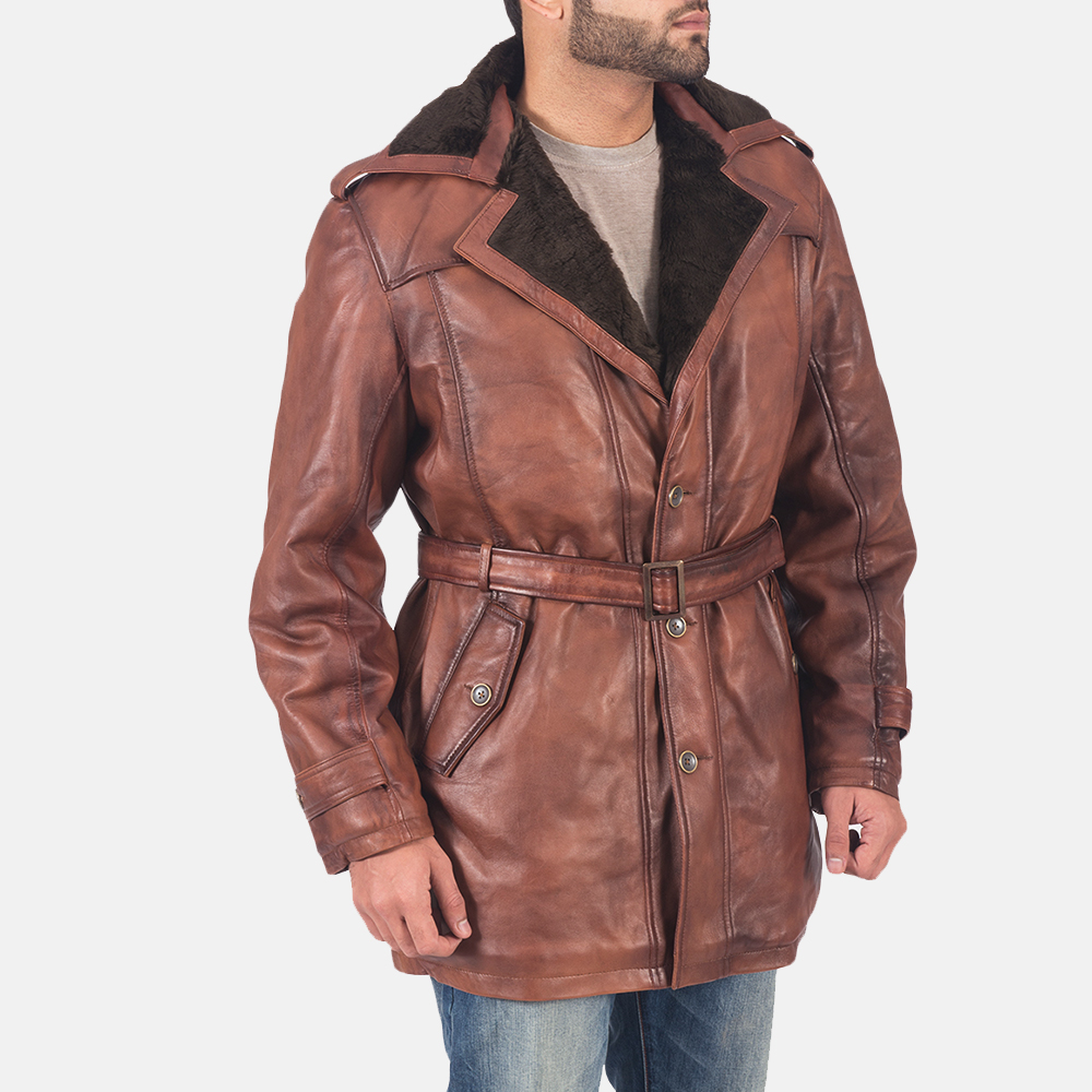 Mens Hunter Brown Fur Leather Coat 4