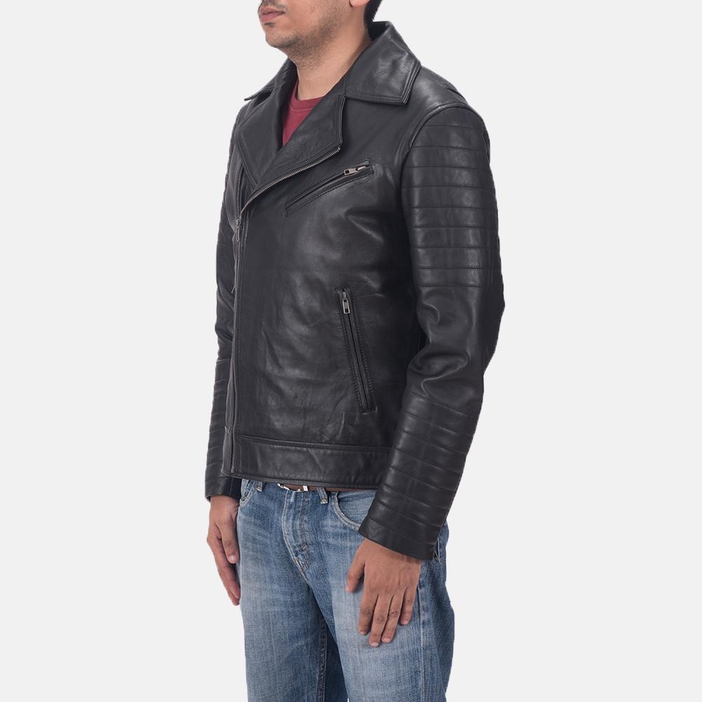 Men's Luther Black Leather Biker Jacket 2