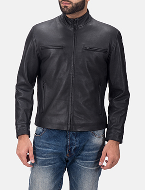 Men's Austere Matte Black Leather Biker Jacket
