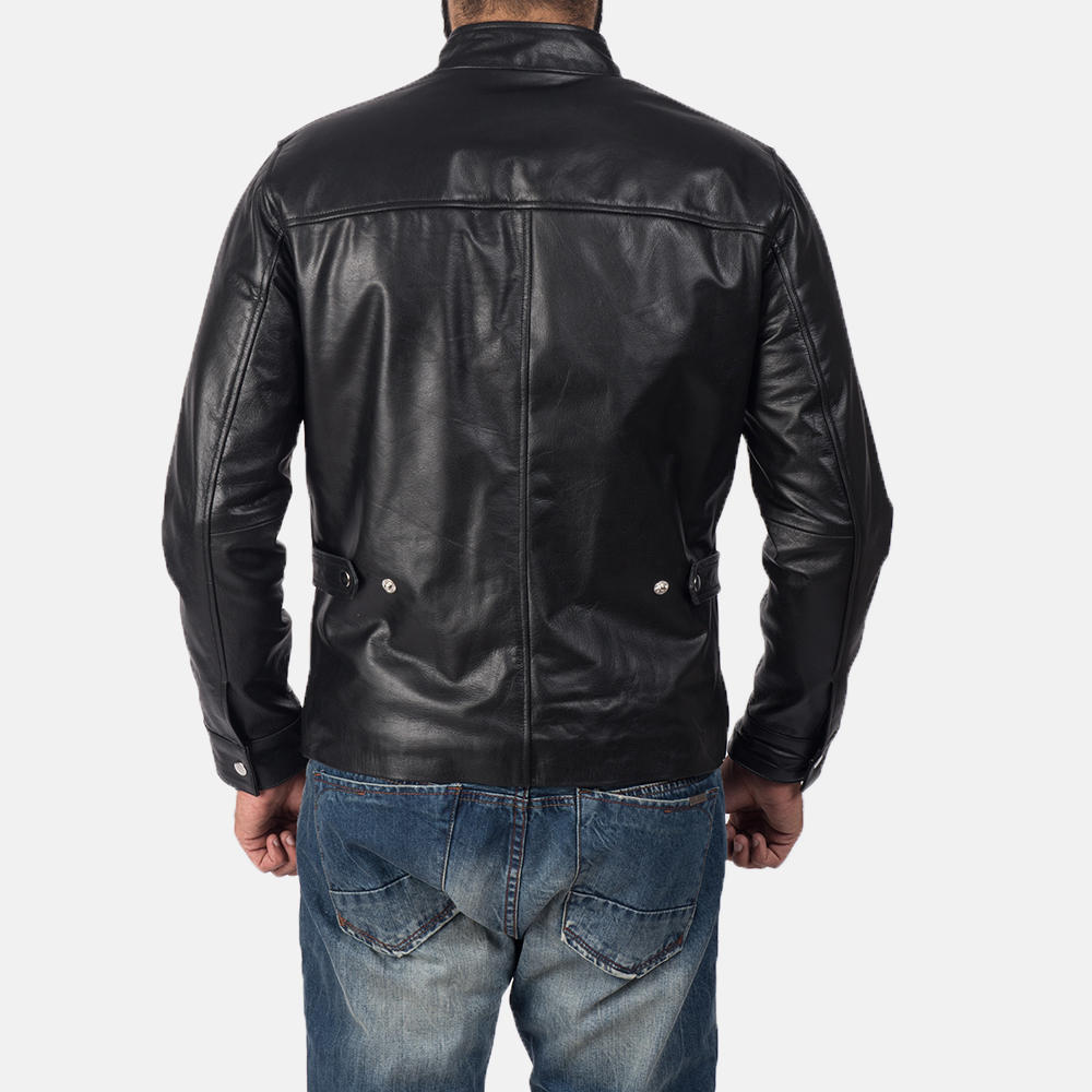 Mens Austere Black Leather Biker Jacket 5