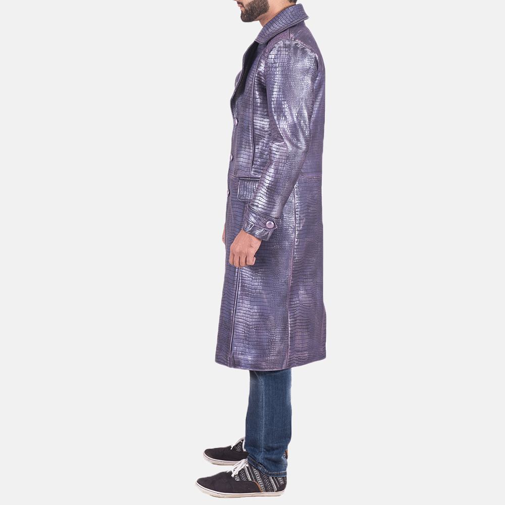 Mens Crocodile Purple Leather Coat 3