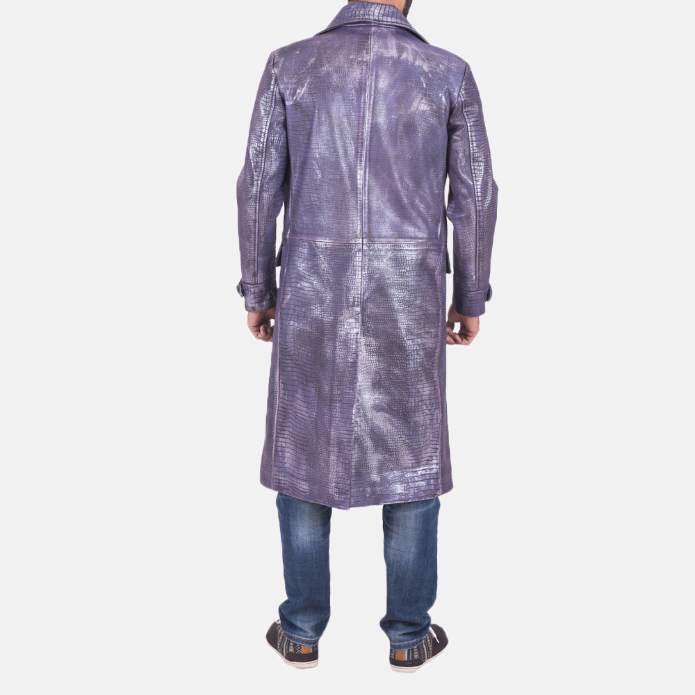 Mens Crocodile Purple Leather Coat 4